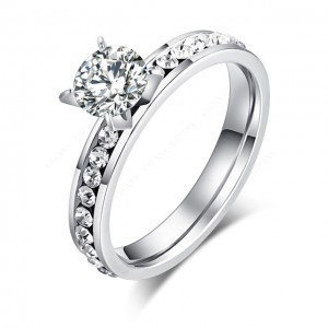 "R-M2281 ""Prong Solitaire Framed with Twist Band Ring"""